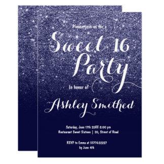 Modern girly faux navy blue glitter ombre Sweet 16 Card