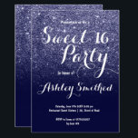 "Modern girly faux navy blue glitter ombre Sweet 16 Invitation<br><div class=""desc"">A modern,  pretty faux navy blue glitter shower ombre with navy blue color block Sweet 16 birthday party invitation with blue glitter ombre pattern fading onto a customizable blue background. Perfect for a princess Sweet sixteen,  perfect  for her,  the fashionista who loves modern pattern and glam</div>"