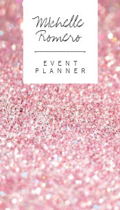 modern girly faux pink glitter bokeh event planner business card - Girly Business Cards