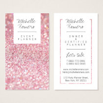 Modern girly faux pink glitter bokeh event planner business card