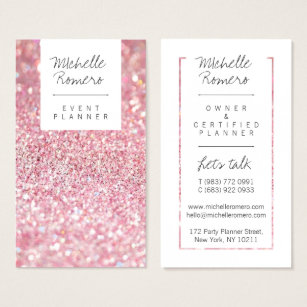 Pink business cards templates zazzle modern girly faux pink glitter bokeh event planner business card fbccfo Image collections