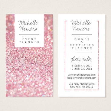 busied Modern girly faux pink glitter bokeh event planner business card