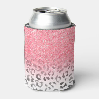 Modern girly faux pink glitter leopard watercolor can cooler