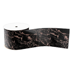 Modern girly faux rose gold foil black marble grosgrain ribbon
