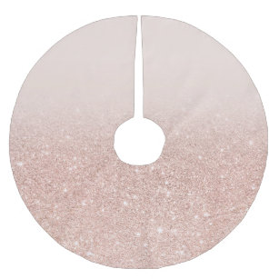 Modern Girly Faux Rose Gold Glitter Ombre Brushed Polyester Tree Skirt