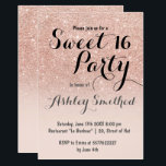 "Modern girly faux rose gold glitter ombre Sweet 16 Invitation<br><div class=""desc"">A modern,  pretty faux rose gold glitter shower ombre with pastel blush pink color block Sweet 16 birthday party invitation with rose gold ombre pattern fading onto a pink background. Perfect for a princess Sweet sixteen,  perfect  for her,  the fashionista who loves modern pattern and glam</div>"