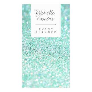Modern girly faux teal glitter bokeh event planner business card