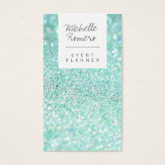 Modern Girly Faux Teal Glitter Bokeh Event Planner Business Card at Zazzle