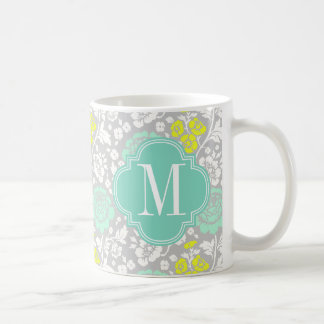 Modern Girly Floral Aqua Yellow Grey Personalized Classic White Coffee Mug