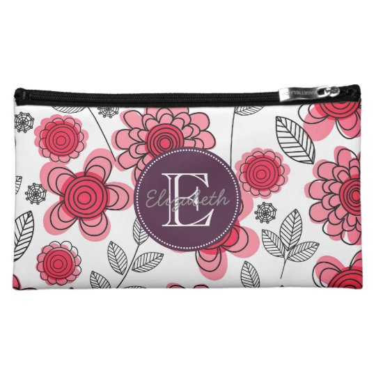 Modern Girly Floral Personalized Makeup Bag