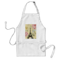 Modern Girly  floral Vintage Paris Eiffel Tower Adult Apron