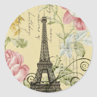 Modern Girly  floral Vintage Paris Eiffel Tower Classic Round Sticker