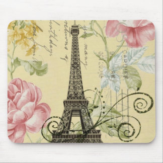 Modern Girly  floral Vintage Paris Eiffel Tower Mouse Pad