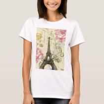 Modern Girly  floral Vintage Paris Eiffel Tower T-Shirt