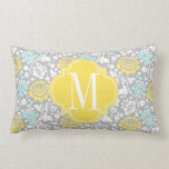 Modern Girly Floral Yellow Grey Personalized Pillow