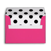 Modern Girly Fuchsia and Black Polka Dots Envelope