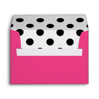 Modern Girly Fuchsia and Black Polka Dots Envelope