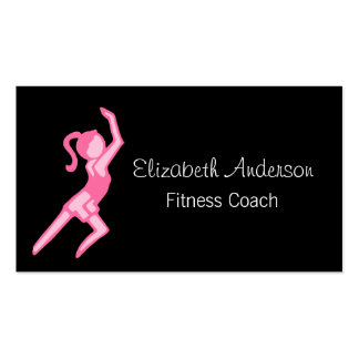 Modern Girly Girl Pink and Black Fitness Coach Business Card Templates
