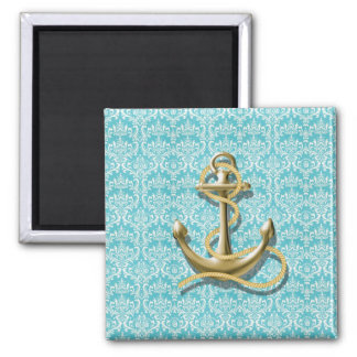 modern girly gold anchor teal damask nautical 2 inch square magnet