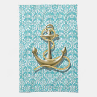 modern girly gold anchor teal damask nautical hand towels