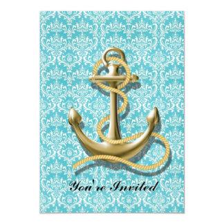 modern girly gold anchor teal damask nautical custom invitations