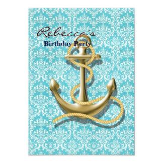modern girly gold anchor teal damask nautical invites