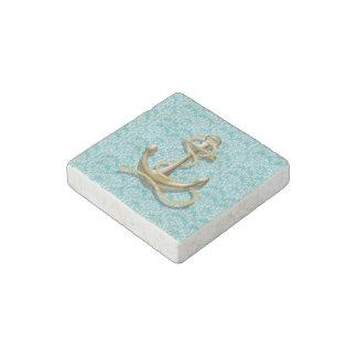 modern girly gold anchor teal damask nautical stone magnet