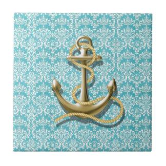 modern girly gold anchor teal damask nautical tile
