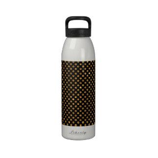 Modern Girly Gold Glitter Polka Dots Pattern Black Water Bottle