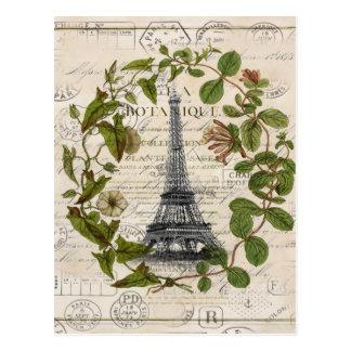 modern girly ivy leaves wreath paris eiffel tower postcard