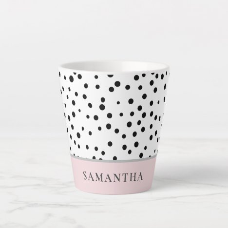 Modern Girly Pastel Pink With Personalized Name Latte Mug