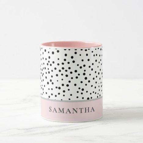 Modern Girly Pastel Pink With Personalized Name Mug