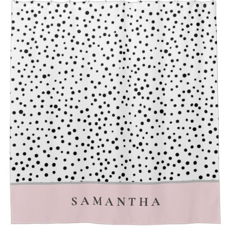 Modern Girly Pastel Pink With Personalized Name Shower Curtain