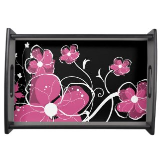 Modern Girly Pink and White Flowers Food Tray