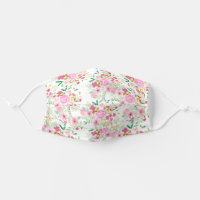 Modern girly pink green floral watercolor pattern cloth face mask
