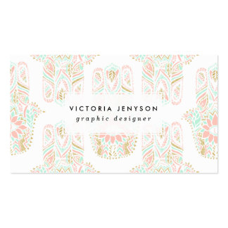 Modern girly pink mint gold Hamsa hand of fatima Double-Sided Standard Business Cards (Pack Of 100)
