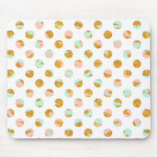 Modern Girly Pink Teal Gold Glitter Polka Dots Mouse Pad