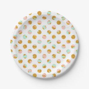 Modern Girly Pink Teal Gold Glitter Polka Dots Paper Plate  sc 1 st  Zazzle & Gold Polka Dots Pattern Plates   Zazzle