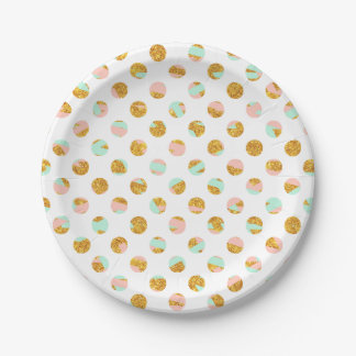 Modern Girly Pink Teal Gold Glitter Polka Dots Paper Plate
