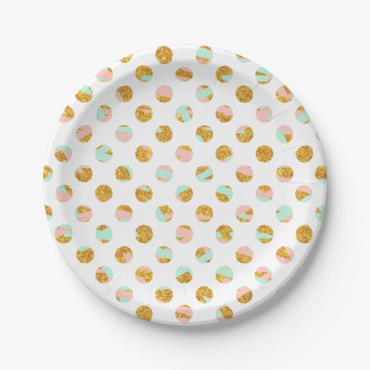 Modern Girly Pink Teal Gold Glitter Polka Dots Paper Plate  sc 1 st  Zazzle & Modern Girly Pink Teal Gold Glitter Polka Dots Paper Plate | Zazzle.com