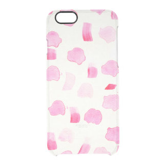 Modern girly pink watercolor brush strokes pattern clear iPhone 6/6S case
