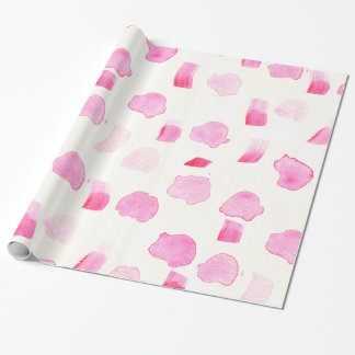 Modern girly pink watercolor brush strokes pattern wrapping paper
