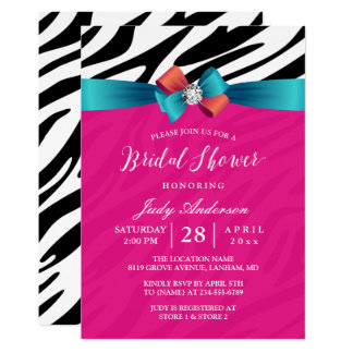 Modern Girly Pink Zebra Print Ribbon Bridal Shower Card