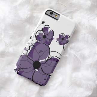 Modern Girly Purple and White Flowers Barely There iPhone 6 Case