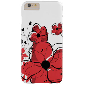 Modern Girly Red and Black Flowers Barely There iPhone 6 Plus Case
