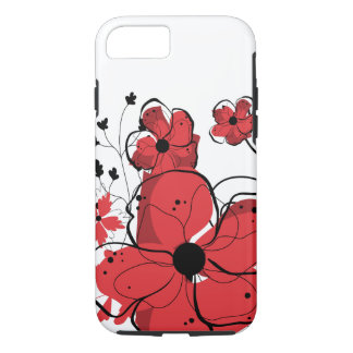 Modern Girly Red and Black Flowers iPhone 7 Case