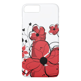 Modern Girly Red and Black Flowers iPhone 7 Plus Case