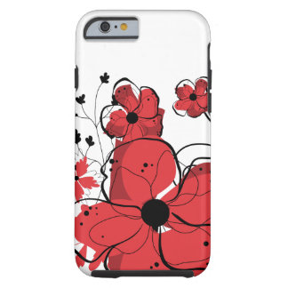 Modern Girly Red and Black Flowers Tough iPhone 6 Case