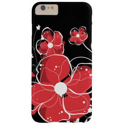 Modern Girly Red and White Flowers Barely There iPhone 6 Plus Case