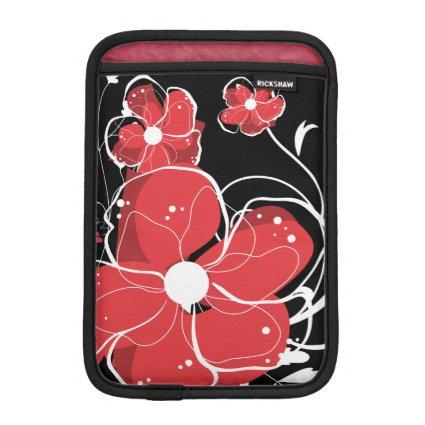 Modern Girly Red and White Flowers iPad Mini Sleeve